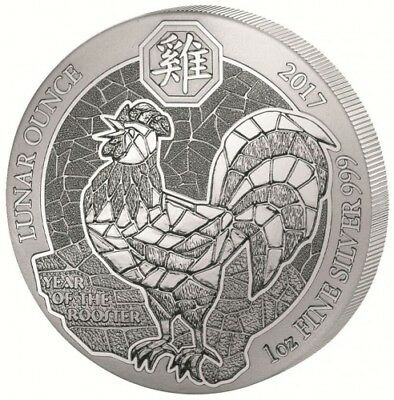 Ruanda 50 RWF Francs 2017 Year of the Rooster Hahn 1oz Silbermünze Folie OVP