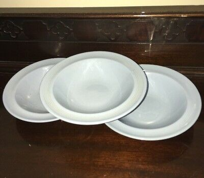 Woods Wood's Ware Iris Blue 3 Cereal Bowls Utility Ware