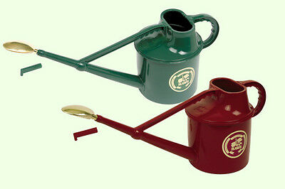 Haws Red/Green Deluxe Plastic 7 L Litre Watering Can c/w Brass Rose British Made