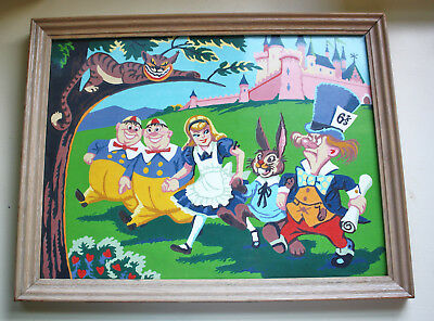 Vintage Paint by Number Alice in Wonderland Framed Cheshire Cat Mad Hatter
