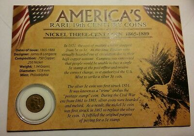 1865 Three Cent Nickel First Commemorative Mint perfect for Children LOOK!!