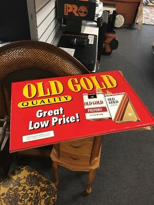 Vtg Old Gold Cigarette Embossed Tin Advertising Store Sign Tobacco 26x16