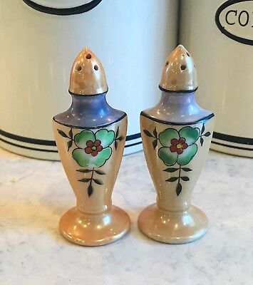 Antique Lustreware pottery salt & pepper shakers tall colorful Japan S & P