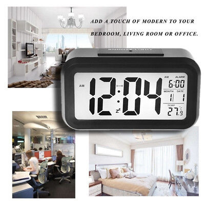 Digital Snooze Alarm Clock Backlight LED Table Clock Time Temperature Calendar K