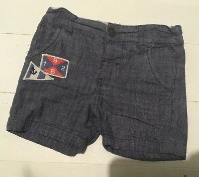 Boys Age 9-12 Months Cotton Blue NEXT Shorts Nautical Summer Holliday Smart