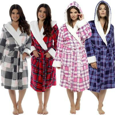 Womens/Ladies Fleece Checked Tartan Hooded Sherpa Robe/Dressing Gown Size 8-22