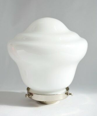 Opaline Glass Lamp Shade - 1930s/1950s - with New Chrome Gallery