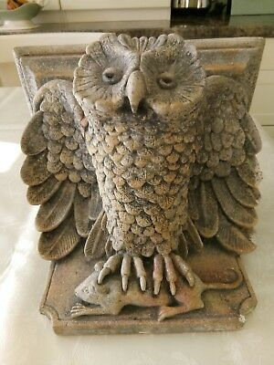 Stone Owl With Mouse - Architectural Wall Corbel Sconce Shelf Sculpture Art