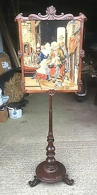 Victorian Rosewood Pole Screen