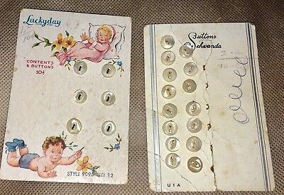 Lot- Vintage Luckyday mother of pearl button card, Babies graphic Suttons