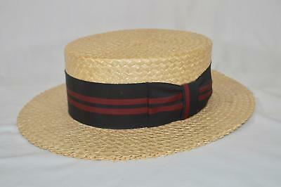 Vintage Custom Made ~ Boater Skimmer Beach ~ Straw Hat ~ size 7 1/8