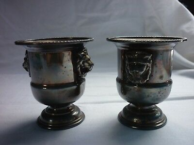 Pair of silver plated mini urns/candle holders, Vines of Sheffield