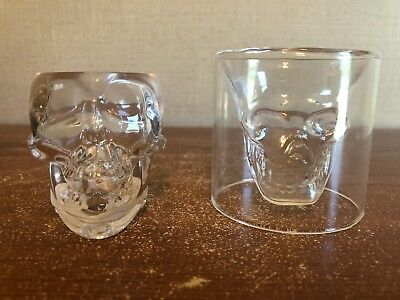 Crystal Head Vodka SKULL Shot Glass Set of 2 Vodka Whiskey Shot Glasses