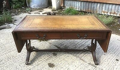 Vintage Mahogany Leather Top Coffee Table