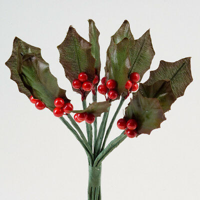 Christmas Flowers Red Berry Spray Holly Pine Cones Cake Decorations Buttonhole