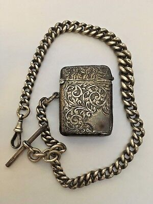 Edwardian Solid Silver Pocket watch Albert Chain & Vesta Case Birmingham 1903-04