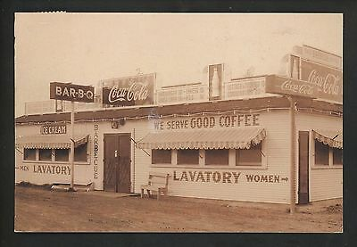 Coca Cola Coke postcard Advertising Restuarant store front Barbecue