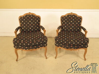 23831: Pair French Louis XIV Fauteuil Open Arm Chairs