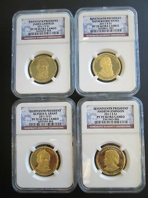 4-2011 S $1 Presidential Dollars PF 70 Ultra Cameo  17th-18th-19th-20th