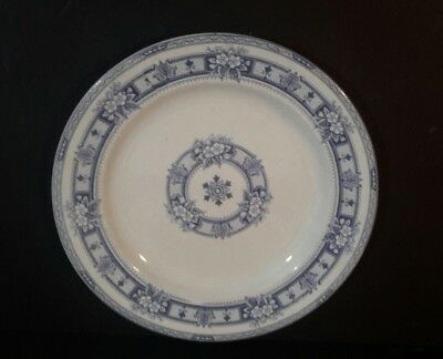 Antique Victorian  White and Purple Flower Dinner Plate