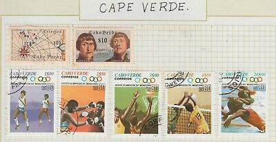CAPE VERDE Collection On Old Pages Olympics, etc USED #