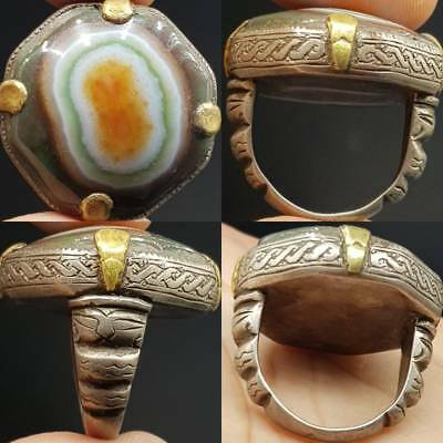 Ancient Sulaimany Agate Stone Solid Silver Lovely Ring      # 4F