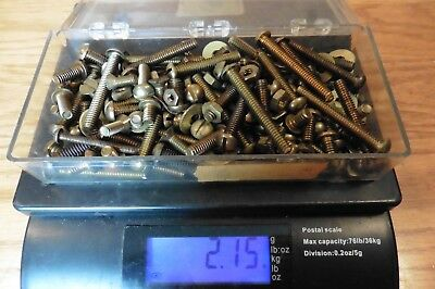2.15lb Lot of brass Screws flat & round head nuts and washer vintage brass bolt