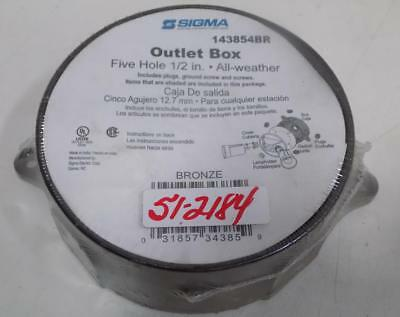"Sigma Five Hole 1/2"" All Weather Bronze Outlet Box 143854Br"