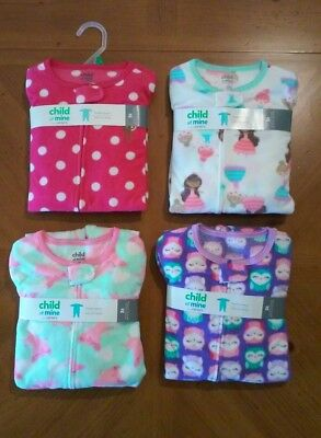 Girls Lot of 4 Child of mine Blanket Sleepers Size 5T