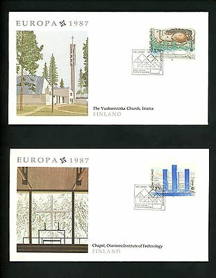 Postal History Finland FDC #756-757 SET OF 2 Europa architecture library 1987