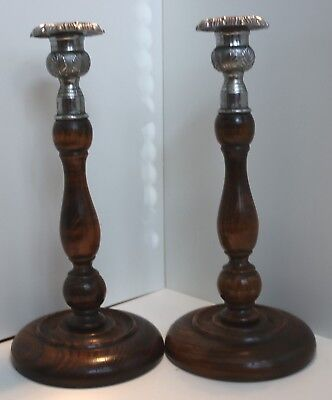 Pair Antique Large Wooden Candlesticks / Set Vintage Candle Holders 1930's / 33