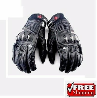 New Full Finger Short Cuff Black DAINESE Motorcycle Bike Riding Men Armor Gloves