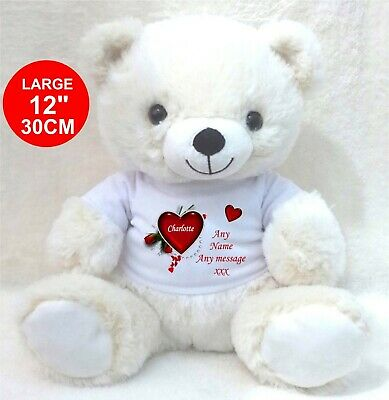 Personalised White Teddy Bear Heart/Rose  Valentines Day Birthday  Gifts