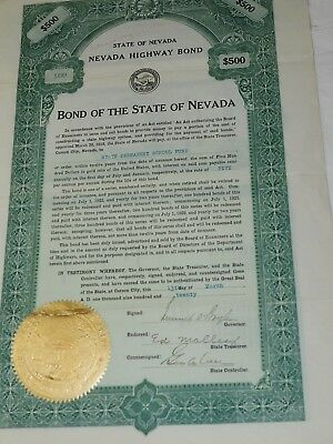 STATE OF NEVADA NEVADA HIGHWAY BOND 1921 Ten Year FOR $500 Semi Annual #160