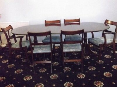 Antique Mahogany Extending Regency Style Twin Pedestal Dining Table & Chairs