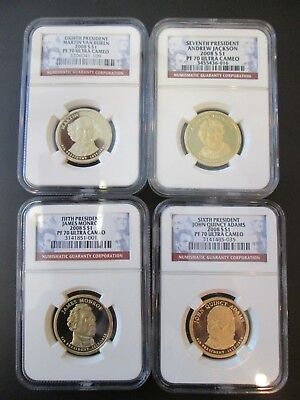 4-2008 S $1 Presidential Dollars PF 70 Ultra Cameo  5th- 6th- 7th- 8th