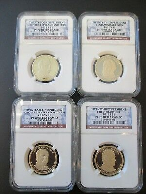 4-2012 S $1 Presidential Dollars PF 70 Ultra Cameo  21st-22nd-23rd- & 24th