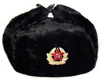 Ushanka Russian Army Military Fur Hat Ussr Soviet Soldier Red Star / Eagle Badge