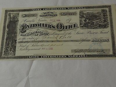 1886 STATE CONTROLLERS WARRANT CARSON NEVADA PRISON TRUST WARRANT To Pay $68