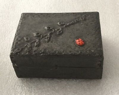 Arts & Crafts Pewter & Wooden Pill Box With Enamelled Ladybird To The Top