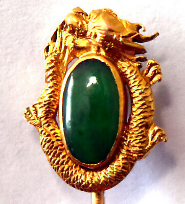 Vintage Chinese Grade A Dark Green Jade and 14K Solid Yellow Gold Dragon Pin
