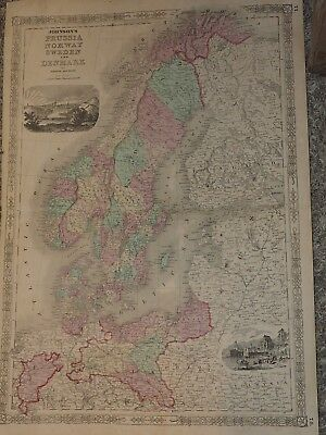 """1863 Johnson's PRUSSIA NORWAY SWEDEN and DENMARK Hand Colored 18"""" x 26"""""""