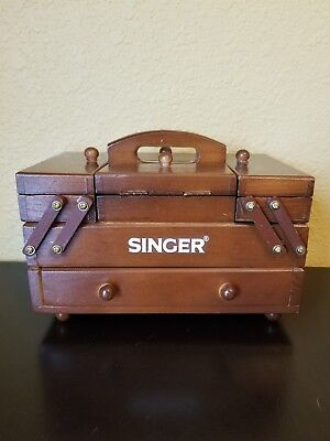 Vintage Singer Wooden Sewing Box Fold Out Accordion Style. Home Decor