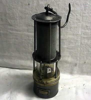 N°004 Wetterlampe Grubenlampe Brass Miners Safety Lamp Old Miners Lamps
