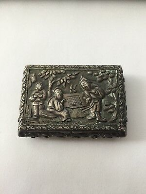Chinese Export Silver Snuff Box Marked KHC, KHE CHEONG OF CANTON 1800'