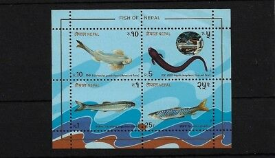 Nepal Sgms553, 1993 Fish Mini Sheet Mnh