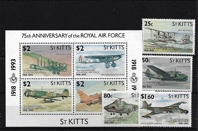 St Kitts Sg369/72 + Ms373, 1993 75Th Anniv Of The R.a.f. Mnh