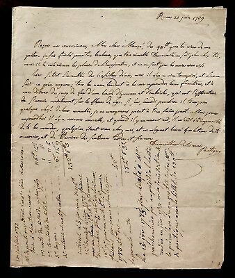 Autographed and Handwritten Documents 1769