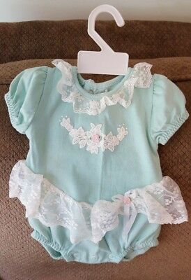 Buster Brown Light Green and Lace Baby Girl One Piece Romper, 6-9 Months, VTG