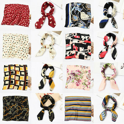 Small Vintage Ladies Women Square Scarf Head Neck Hair Tie Band Silk Feel Satin